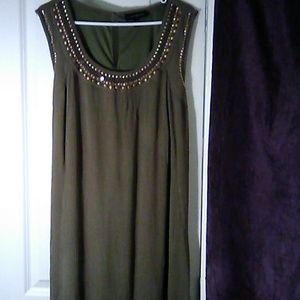 Boho Olive Maxi Dress, size 18/20